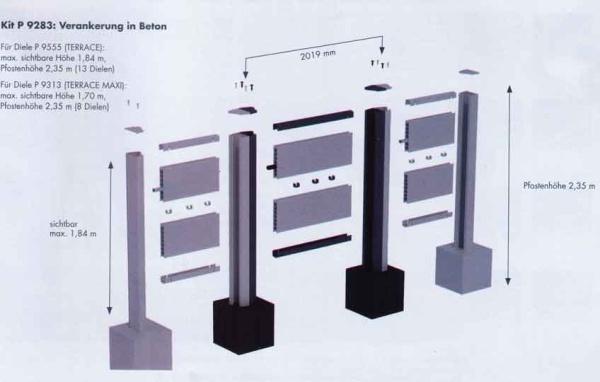 Terrassen Sichtschutzzaun System