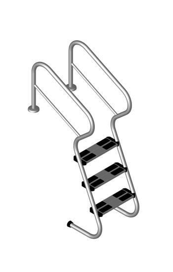 Pool Treppenleiter V2A mit Sicherheitsstufen